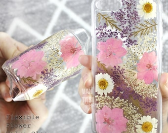 Flexible iphone X  pressed flower iphone 6s case iphone 6 case clear, iphone se case floral, iphone 7 plus flowers, iphone 5s case, iphone 8