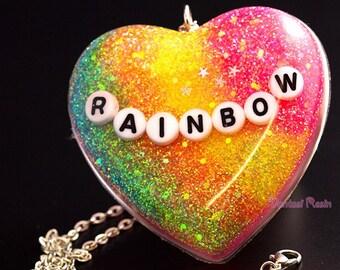 Heart pendant, Heart necklace, silver necklace, rainbow glitter pendants, cute necklace, silver chain necklace