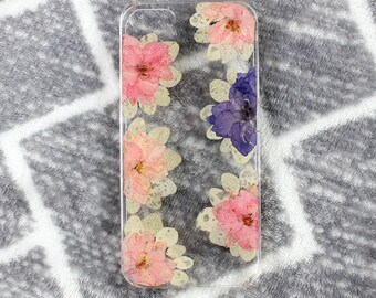 Real Floral pressed flowers Natural flower case cover for iphone 5 5s SE 6 6s 7 8 X Plus Iphone X case  Skin Pink floral purple real flowers