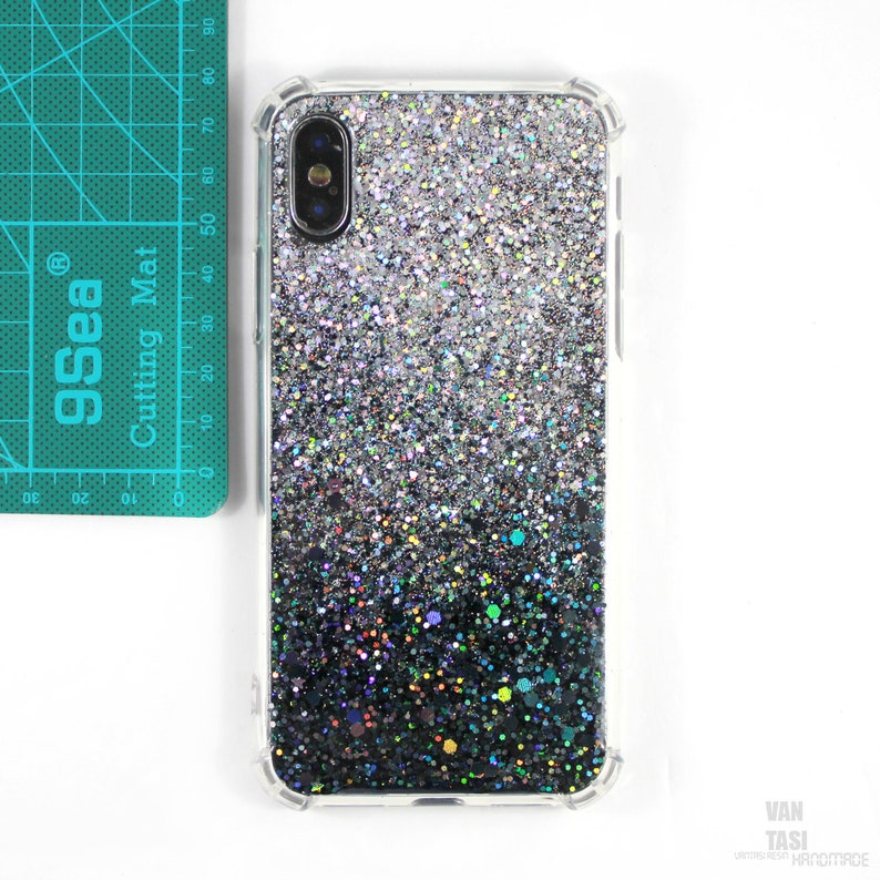 new style 81db2 67a10 Sparkle Glitter bling case for Samsung s9 plus cases s7 s8 note 8 a7 a5,  Samsung Note 9, Lg g7 g6 g5 v20 v30 v40 cover ,Silver and Black