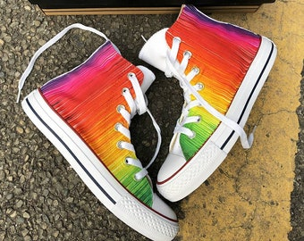 Custom Painted Rainbow Sneakers, Custom Rainbow Converse, Painted Rainbow Converse,  Custom Painted Rainbow Shoes, Custom Rainbow Design