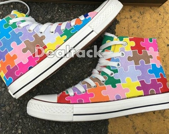 Custom Painted Rainbow Puzzle Converse, Custom Painted Jigsaw Puzzle Shoes, Custom Puzzle Painted Sneakers, Autism Awareness Puzzle Shoes