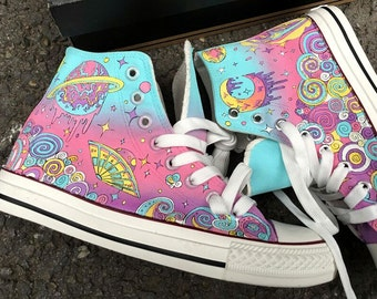 154fa315b672 Custom Psychedelic Galaxy Painted Converse