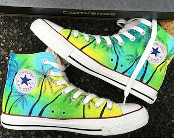 Custom Tropical Painted Converse, Custom Tropical Painted Shoes, Custom Floral Painted Sneakers, Floral Wedding Converse, Coconut Tree