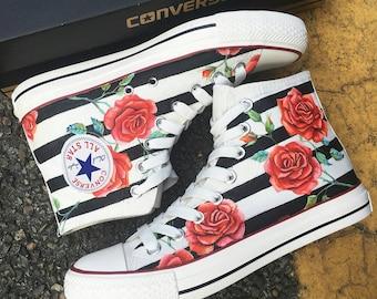 997ab1b8040 Custom Red Rose Painted Converse