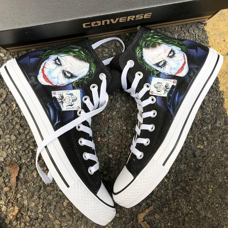 33d97616bb05 Custom Painted Joker Converse Personalized Handpainted Joker