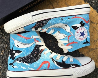 Ocean Creatures Custom Painted Converse, Sea Creatures Custom Painted Sneakers, Sea Creatures Custom Painted Shoes, Ocean Life Painted Shoes