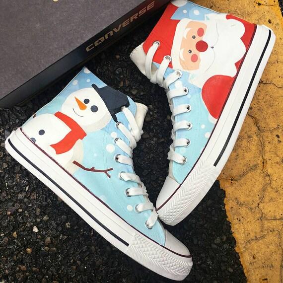 Christmas Sneakers.Custom Painted Christmas Shoes Custom Christmas Converse Santa Claus Shoes Christmas Design Gift Shoes Custom Painted Christmas Sneakers