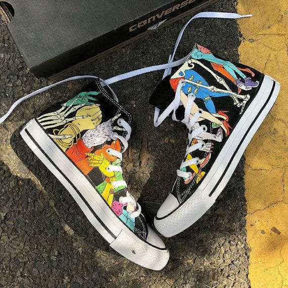 Custom Painted Dancing Monsters Converse, Custom Painted Dancing Monsters Sneakers, Dancing Monsters Painted Shoes, Dancing Monsters Party