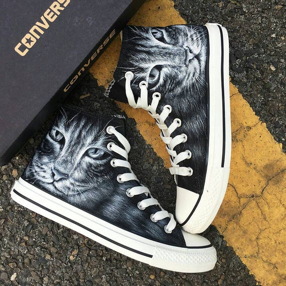 Custom Cat Face Painted Converse, Custom Painted Cute Cat Sneakers, Personalized Cat Lovers Gift Shoes, Custom Crazy Cat Lady Gift