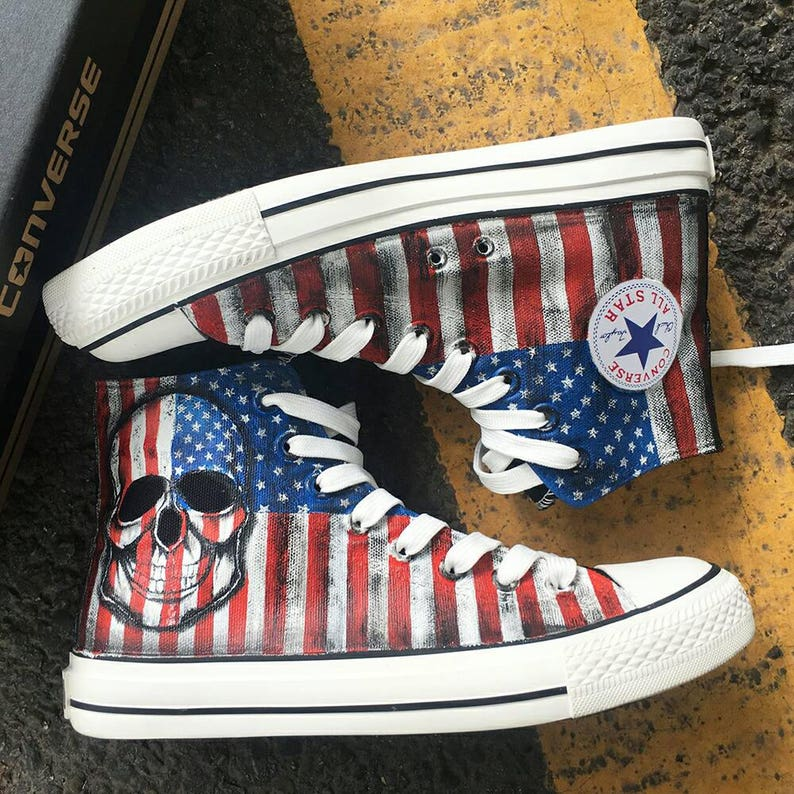09a7c2d99f47 Custom Painted American Flag Converse Personalized Skull