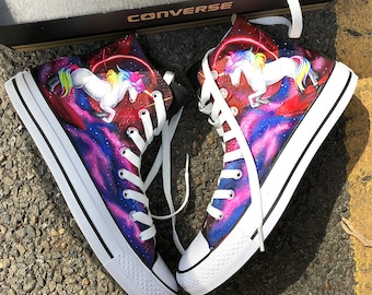 Galaxy Unicorn Sneakers, Custom Galaxy Converse, Unicorn Painted Converse, Galaxy Unicorn Shoes, Galaxy Sneakers, Unicorn Painted Sneakers