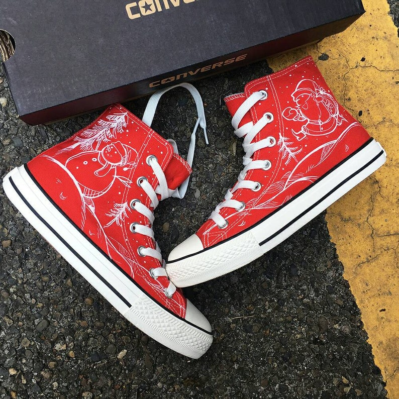 5a0e7d560601 Custom Painted Christmas Converse Customized Christmas