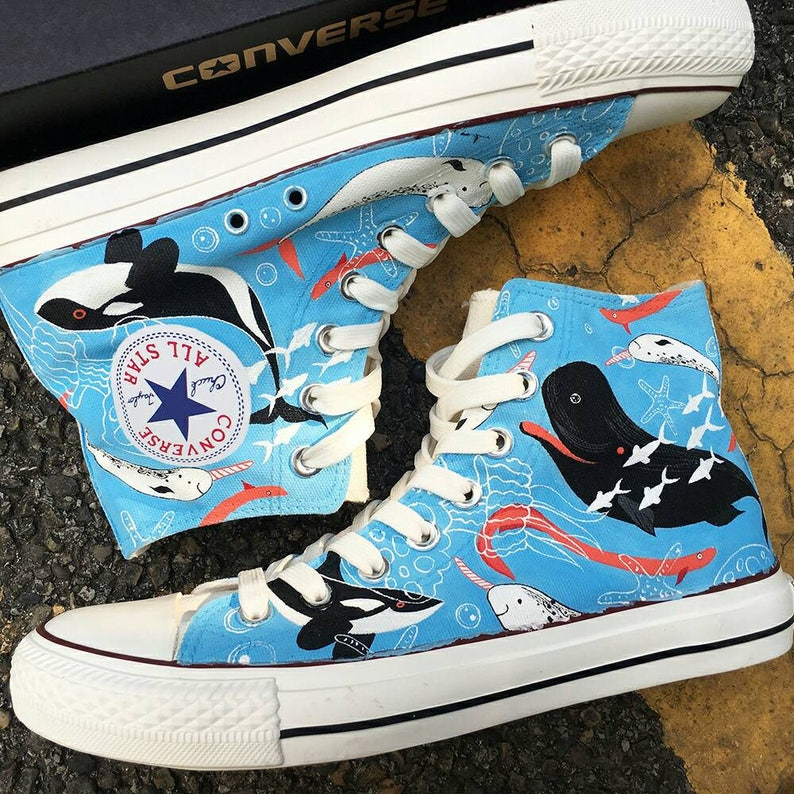 c1d4de99cb7c Ocean Creatures Custom Painted Converse Sea Creatures Custom