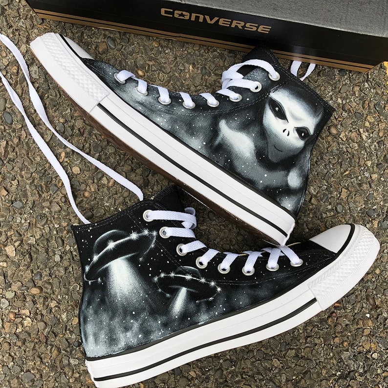 1cf30ca4ae21 X Files Custom Painted Converse UFO Alien Personalized