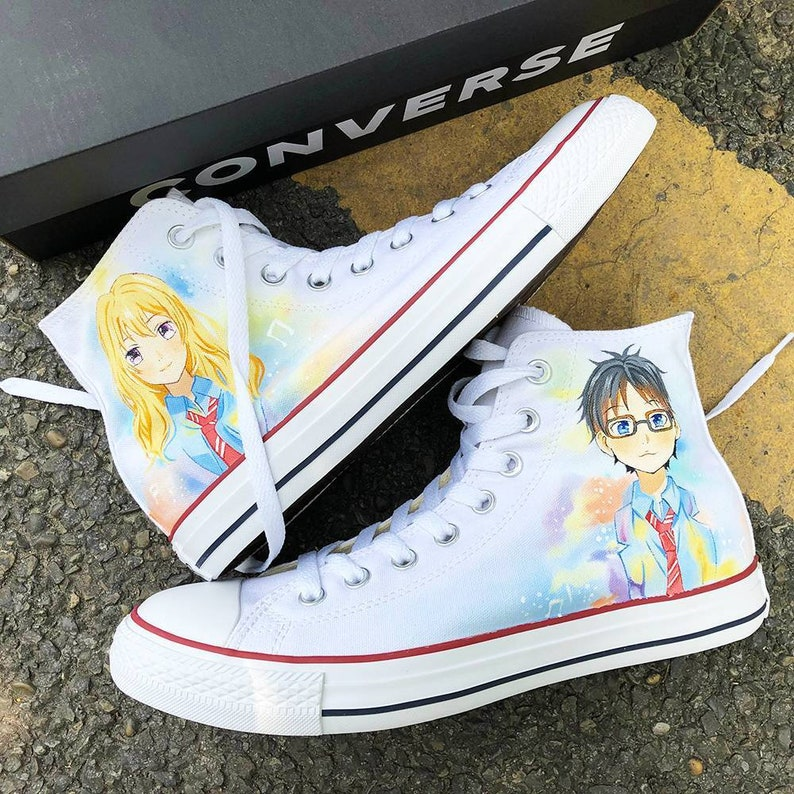522bb43896b3 Personalized Handpainted Anime Shoes Your Lie in April
