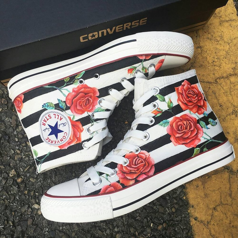 ab8e97f8fce6 Custom Red Rose Painted Converse Old Skool Red Rose Painted