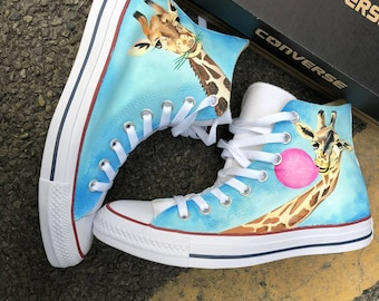 Custom Painted Sneakers, Custom Painted Converse, Funny Animal Shoes, Funny Giraffe, Bubble gum, Custom Painted Shoes, Animal Lover gifts