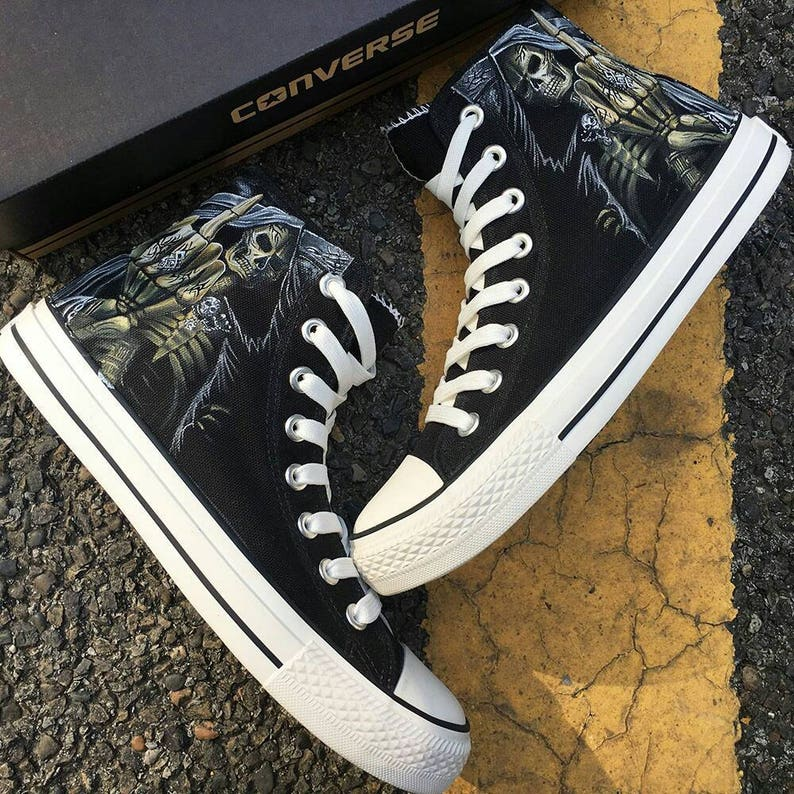 50d5c2a5f554 Custom Death Metal Painted Converse Custom Heavy Metal