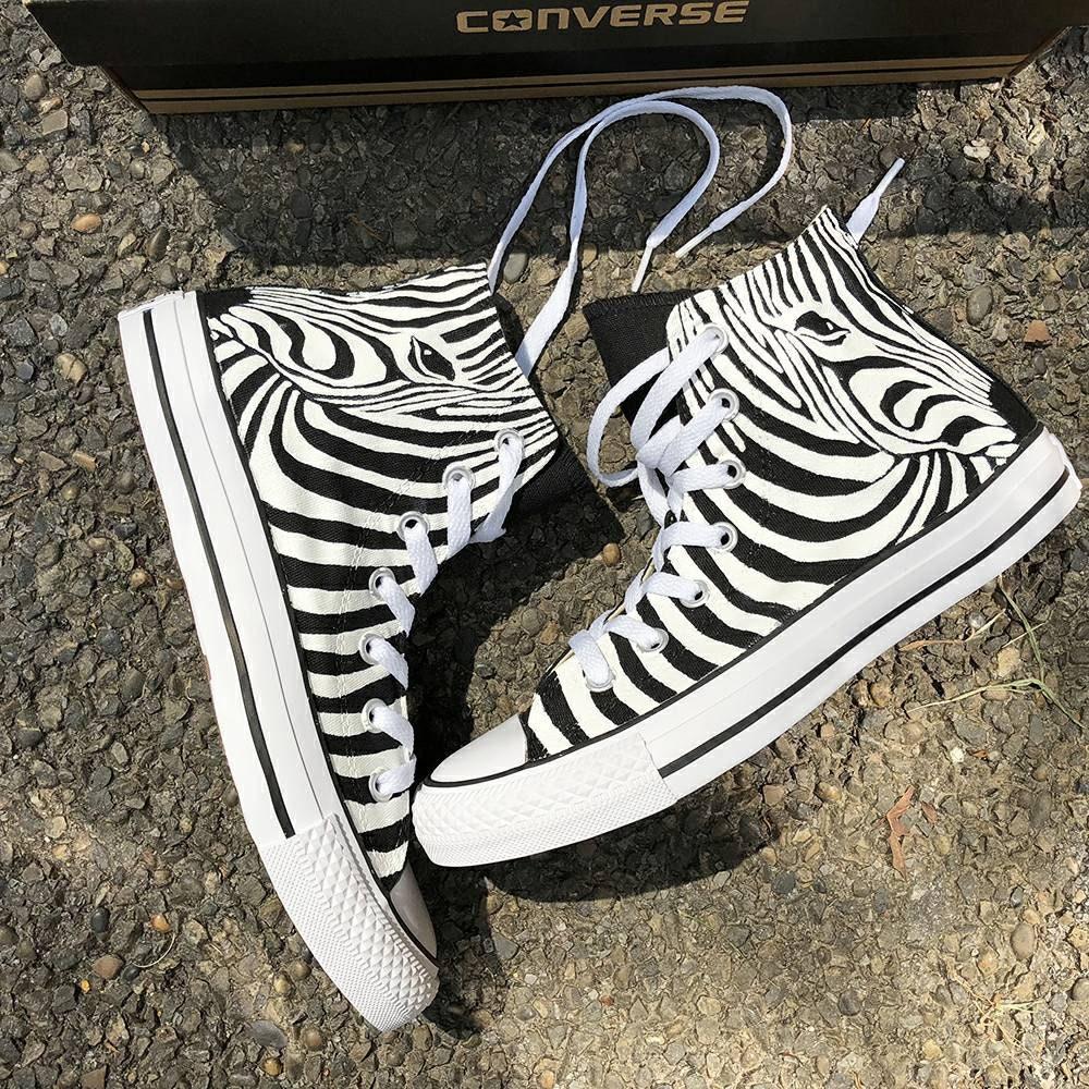 85512987f1 Handpainted Personalized Zebra Print Shoes Custom Painted