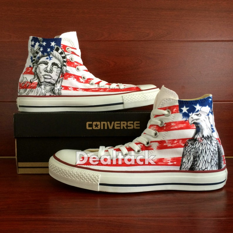 f4e0c6b63919 American Eagle Custom Painted Shoes American Flag Custom