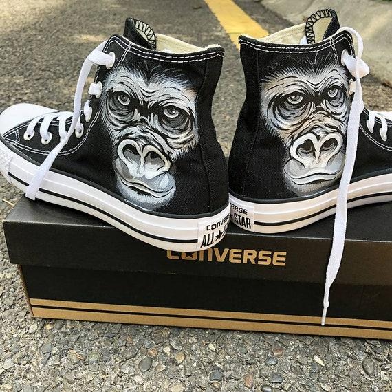 Personalized Handpainted Gorilla Face Shoes Custom Gorilla Etsy