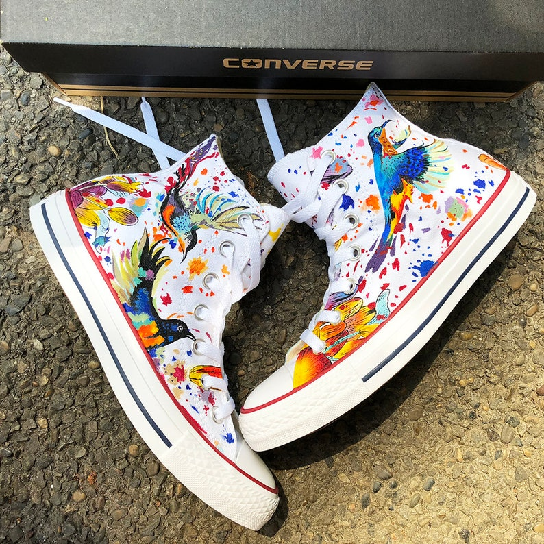 2113cef0eac8a Hummingbird Watercolor Art, Personalized Watercolor Painted Shoes, Custom  Hummingbird Painted Sneakers, Custom Watercolor Painted Converse