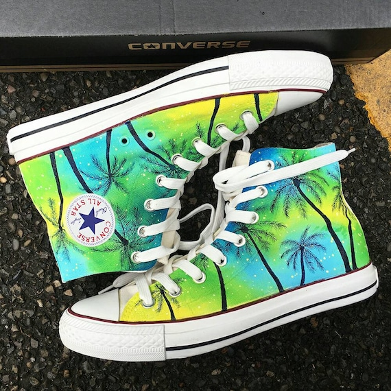 Custom Tropical Painted Converse, Personalized Handpainted Coconut Tree Shoes, Floral Wedding Converse, Custom Summer Wedding Sneakers