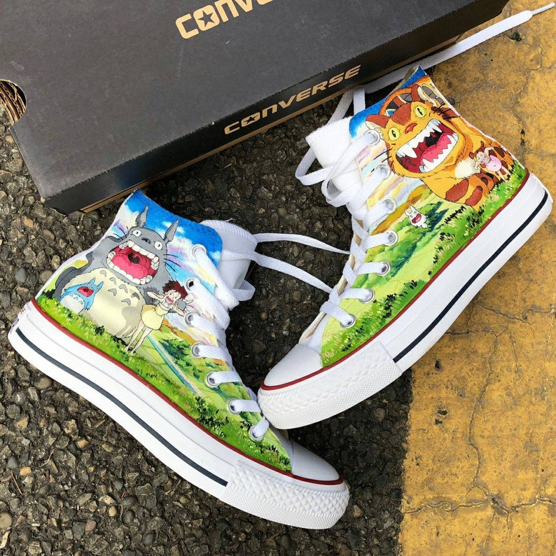 e2d668d8eafe Custom Painted Anime Totoro Converse Personalized Handpainted