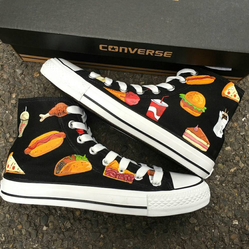 34d0824e7bf2 Custom Junk Food Painted Converse Personalized Handpainted