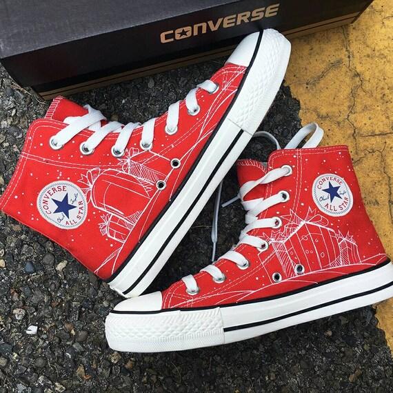 Custom Painted Christmas Shoes, Custom Christmas Converse, Santa Claus Shoes, Christmas Design Gift Shoes, Custom Painted Christmas Sneakers