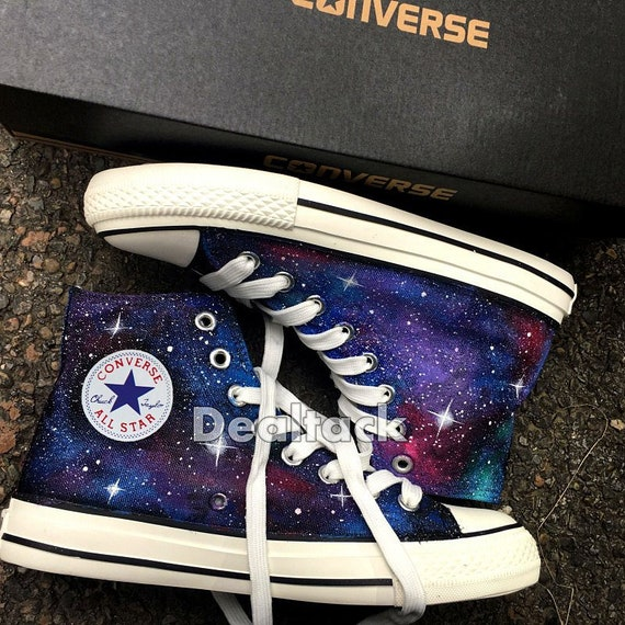 Personalized Handpainted Galaxy Canvas Shoes, Custom Painted Galaxy Converse, Galaxy Design Painted Sneakers, Galaxy Wedding Bridal Shoes
