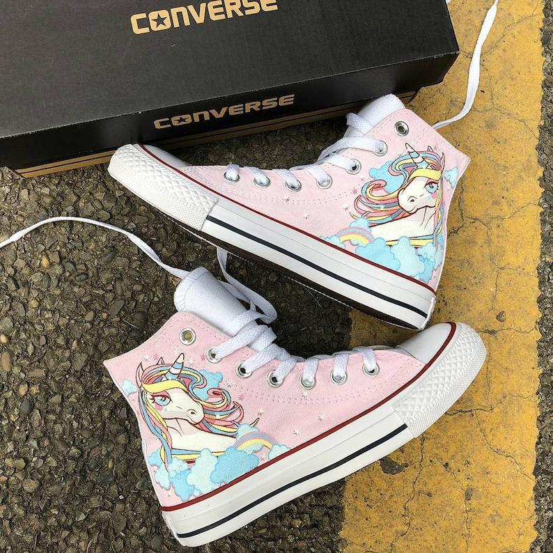 f0e5fdec53a1ac Custom Painted Rainbow Unicorn Converse Personalized