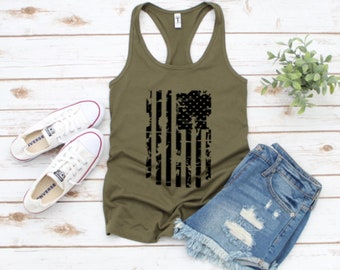 d50a49302323de 4th of July Memorial Day American Flag Tank Top, 4th of July American Flag  Tank Top,Stars and Stripes,Patriotic,Red White Blue,Workout Tank