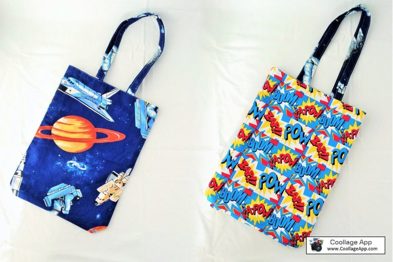 great geek gift Reversible tote bag with space and op art fabric fully reversible