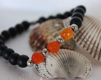 Men's bracelet with Onyx matte and orange stones