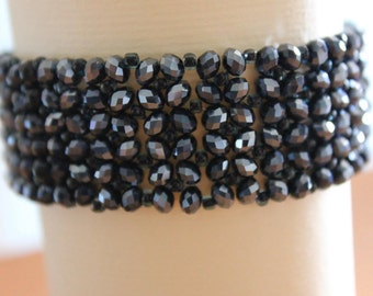 Beaded Cuff Bracelet and black crystals