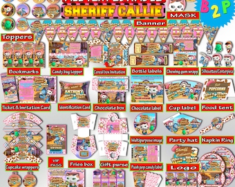 SHERIFF CALLIE Birthday Party Kit Editable Decorations Printable Package Bundle Invitation Instant Download