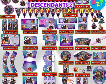 Descendants 2 Birthday Party Kit Set Printable Editable Decorations Bundle