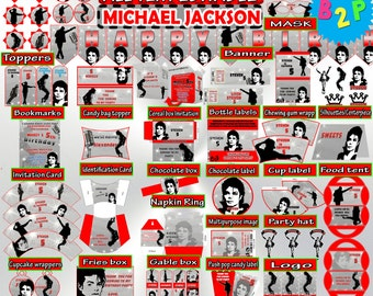Editable Birthday Package Michael Jackson Decorations Printable Hat Bottle Labels Invitation Wrapper Toppers Pack
