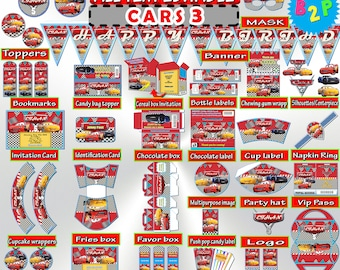 CARS 3 Birthday Party Package Cars Kit Editable Decorations Printable Set Bottle Labels Invitation Wrappers