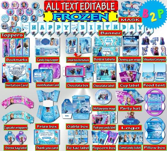 photograph regarding Frozen Printable Labels identified as Frozen Birthday Decorations Editable Bundle Printable, Elsa Anna, Hat, Bottle Labels, Invitation, Wrapper, Toppers, Blue - Prompt Down load
