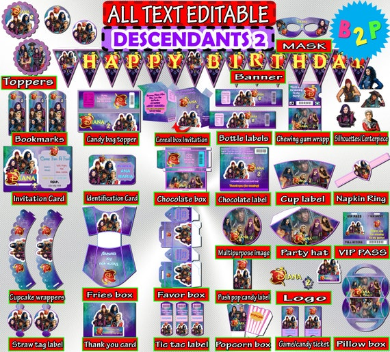 Descendants 2 Birthday Party Kit Set