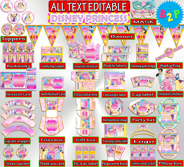 Disney Princess Birthday Party Kit Set Editable