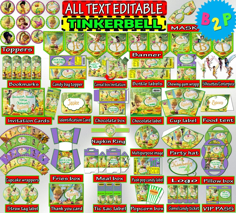 TINKERBELL Birthday Party Kit Printable Decorations Package