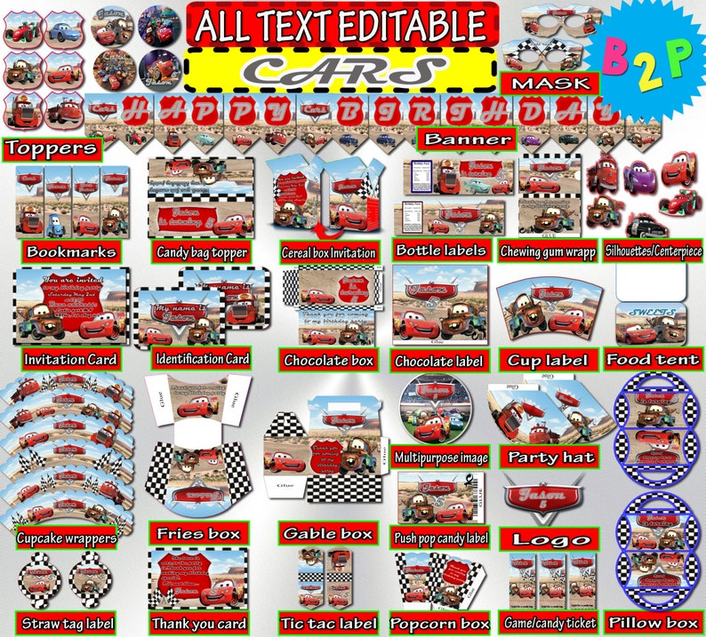 CARS Birthday Kit Editable Party Cars Disney