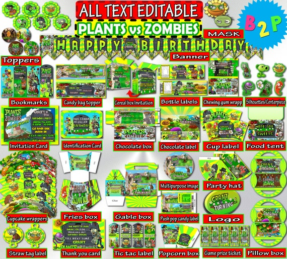 Plants vs zombies birthday kit editable birthday kit etsy toneelgroepblik Image collections