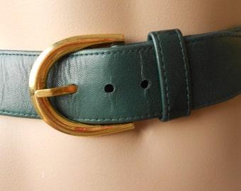 SCHERRER   ceinture cuir vert, taille S, vintage 80s Jean Louis Scherrer vintage  ceintures femme luxe Made in Italy ceintures cuir vert 937279ea0f7