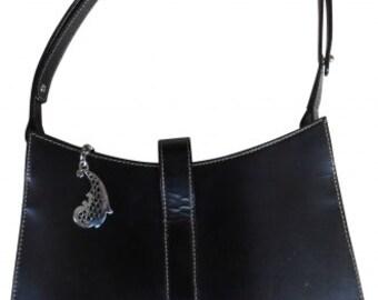 Vintage Rochas   sac cuir lisse noir, vintage 90s sac à main cuir noir sac  porté épaule pochettes femme luxe sac du soir Rochas vintage d1cf896b58c
