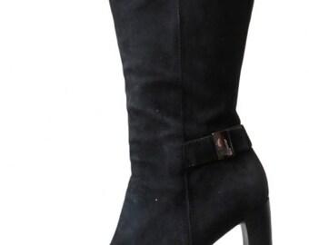d2014526ca73 GUCCI   bottes daim noir à talons hauts, p 40.5 EU, vintage 90s bottes  femme cuir vintage bottines luxe bottines femme suede Made in Italy